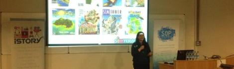 Photo of Elaine talking at State of Play 2013